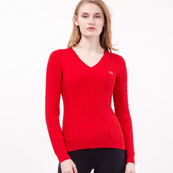 Lacoste Women's V Neck Sweater
