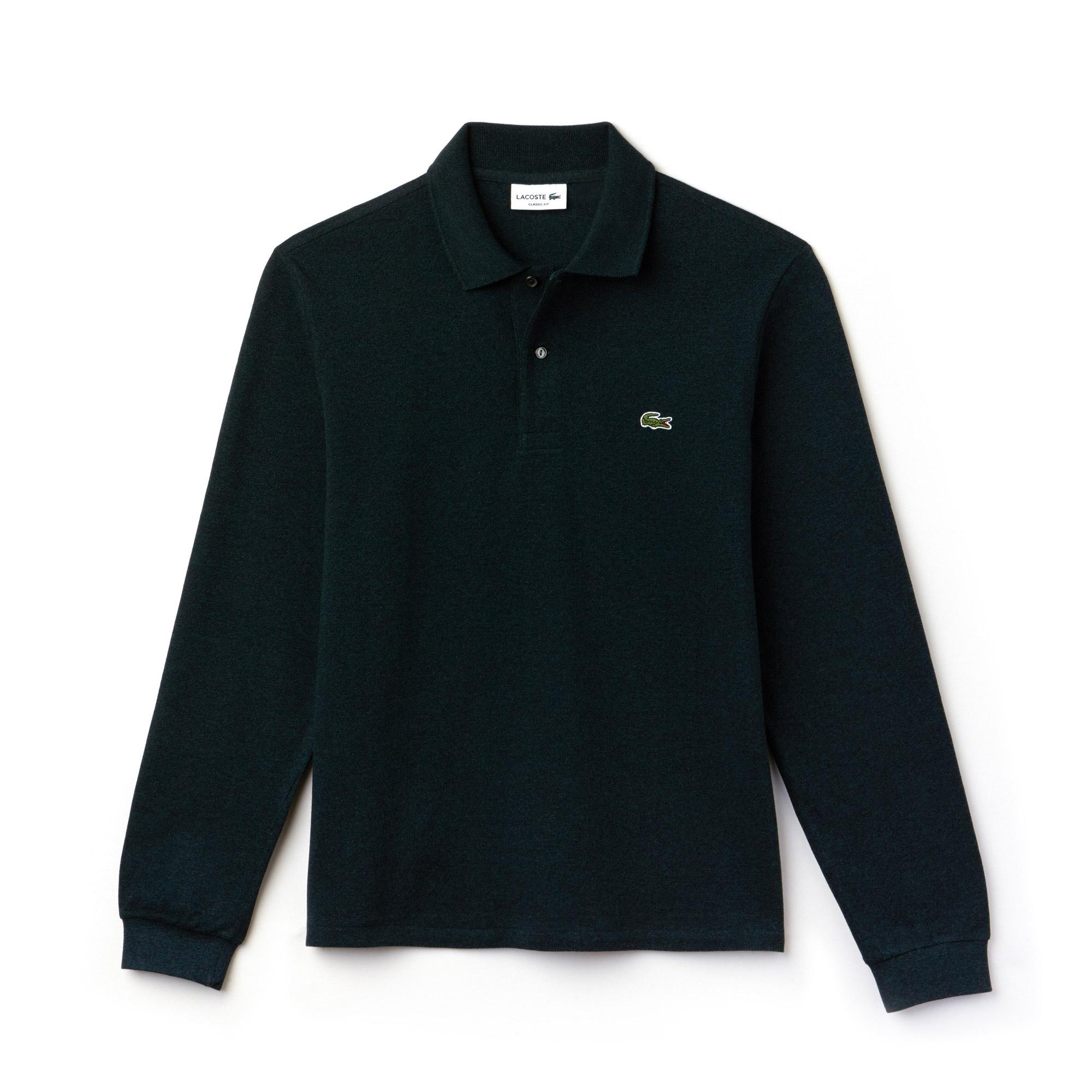 Lacoste Classic Fit Long Sleeve Polo in Marl Petit Piqué