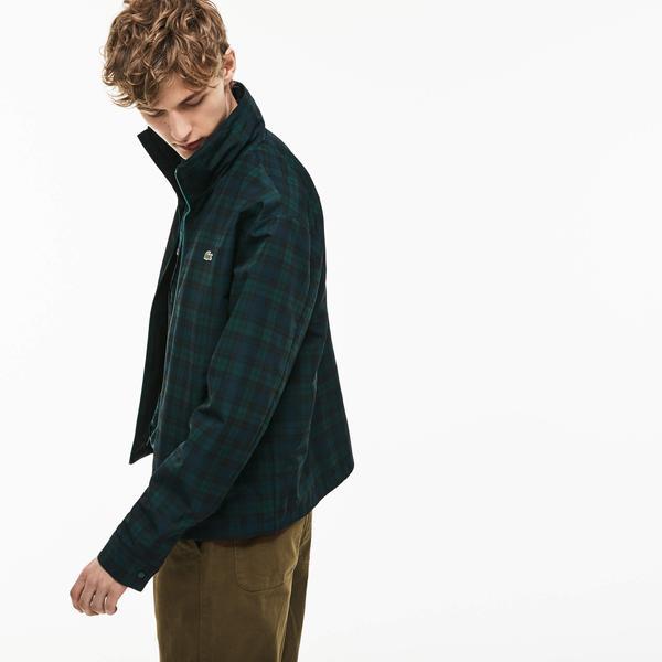 Lacoste Men's Invisible Hood Short Check Taffeta Zip Jacket