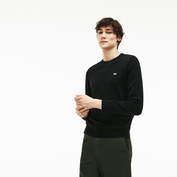 Lacoste Men's Crew Neck Caviar Piqué Accent Cotton Jersey Sweater