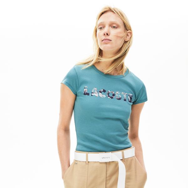 Lacoste Women's Crew Neck Palm Print T-Shirt