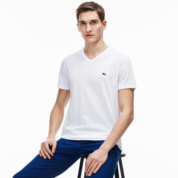 Lacoste Men's V-Neck Pima Cotton Jersey T-Shirt