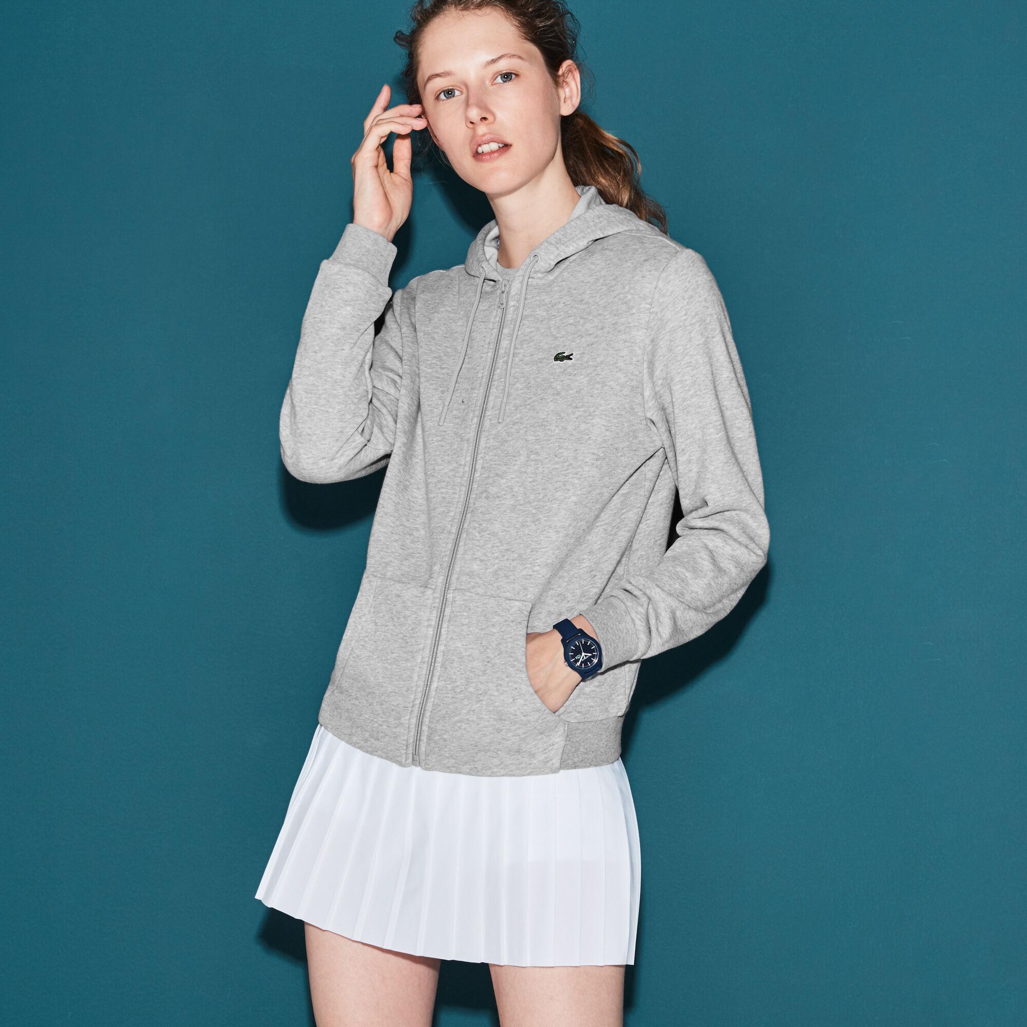 Lacoste Women's Sport Tennis Hooded Zippered Fleece Sweatshirt