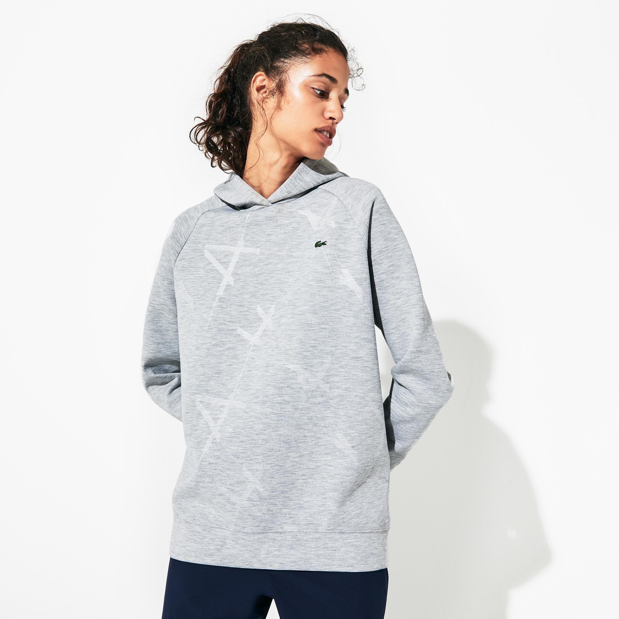 Lacoste Sport Women's Hooded Print Fleece Tennis Sweatshirt