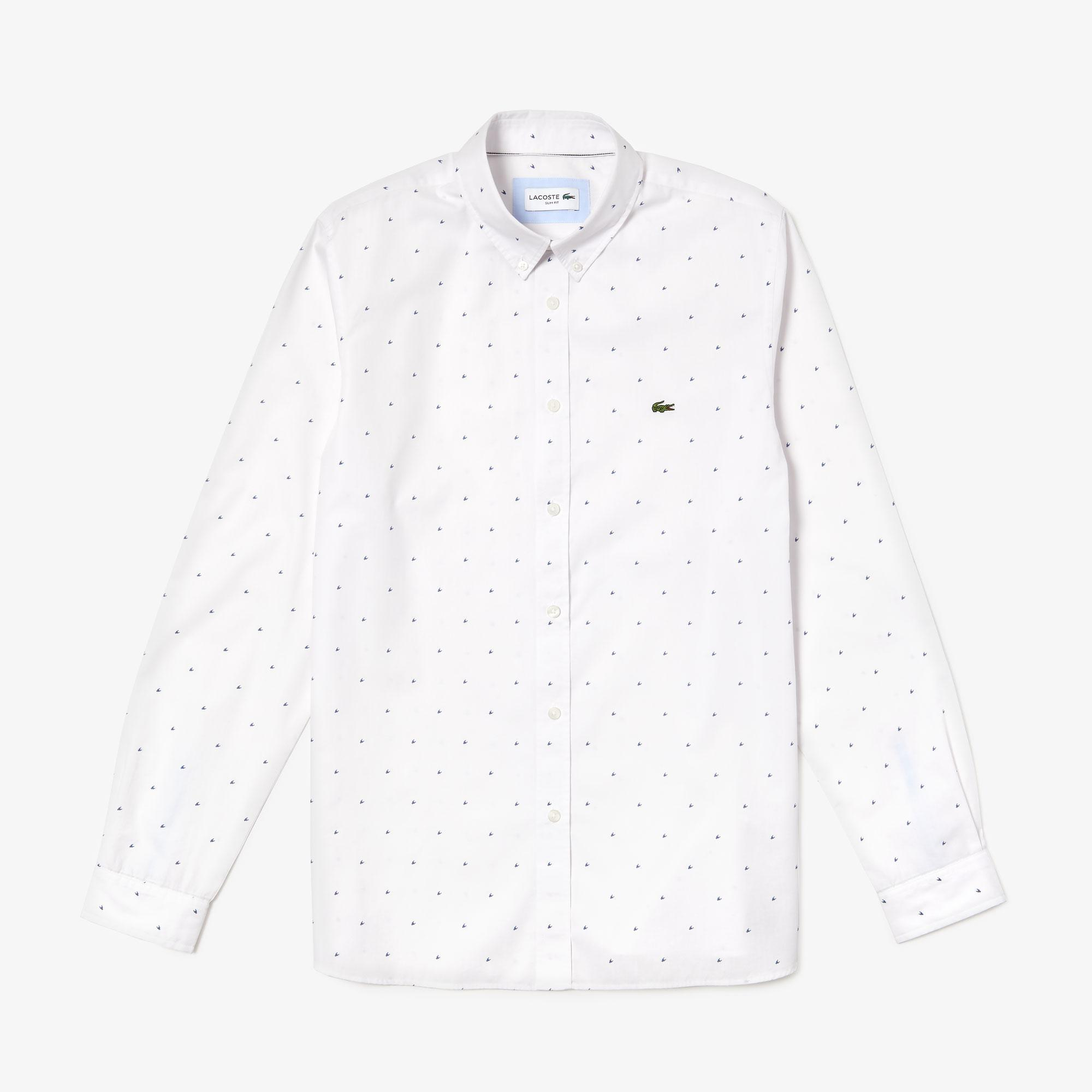 Lacoste Men's Slim Fit Print Cotton Poplin Shirt