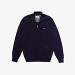 Lacoste Men's Zip Stand-Up Collar Cotton Jersey Cardigan