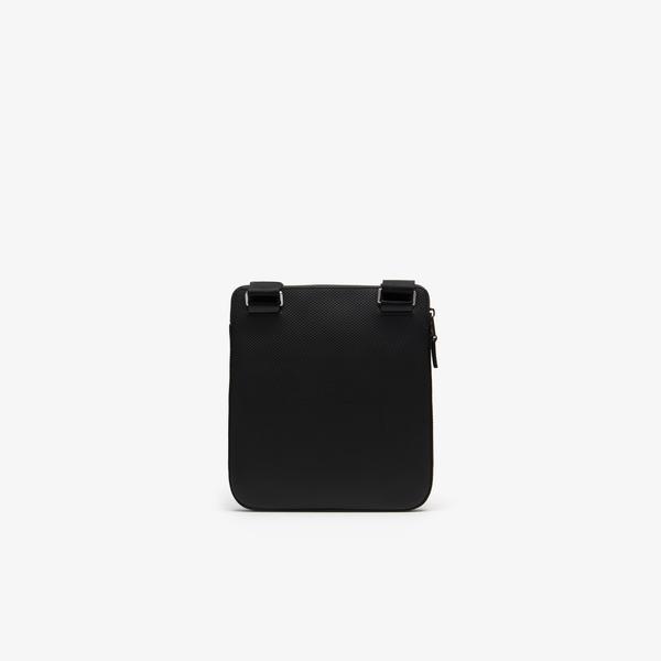 Lacoste Men's Chantaco Matte Piqué Leather Flat Zip Bag