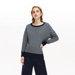 Lacoste Women's Boat Neck Check Cotton Jacquard Sweater