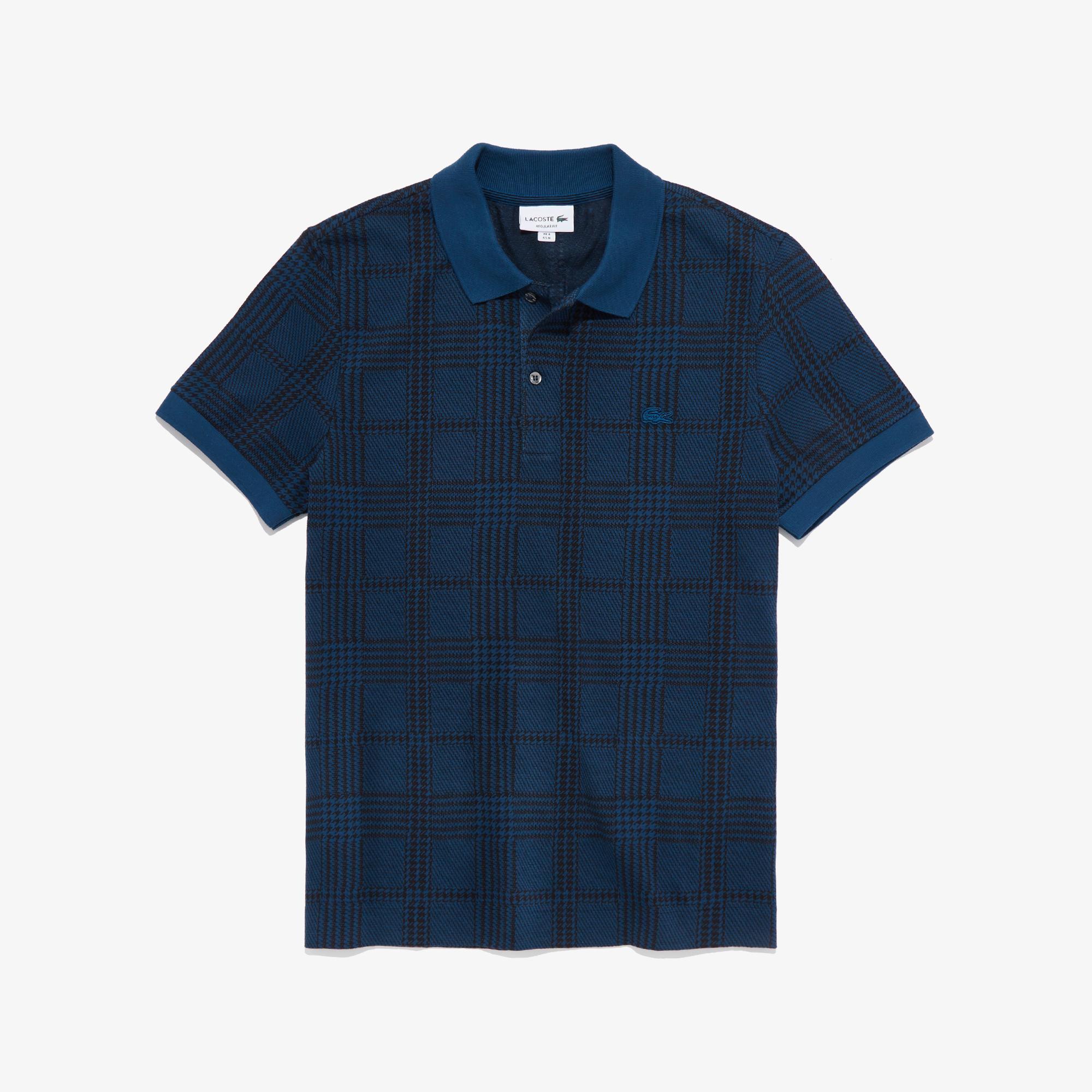 Men's Regular Fit Glen Plaid Print Cotton Polo