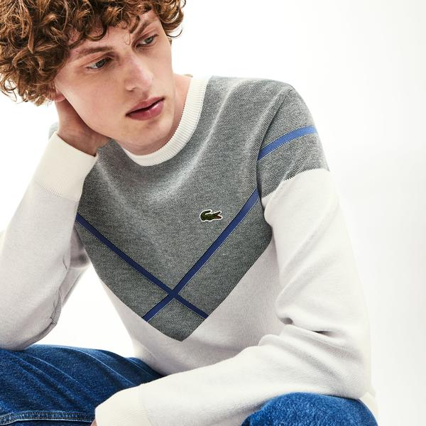 Lacoste Men's Made In France Crew Neck Jacquard Design Sweater