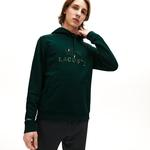 Lacoste Men's Embroidered Logo And Kangaroo Pocket Hooded Fleece Sweatshirt
