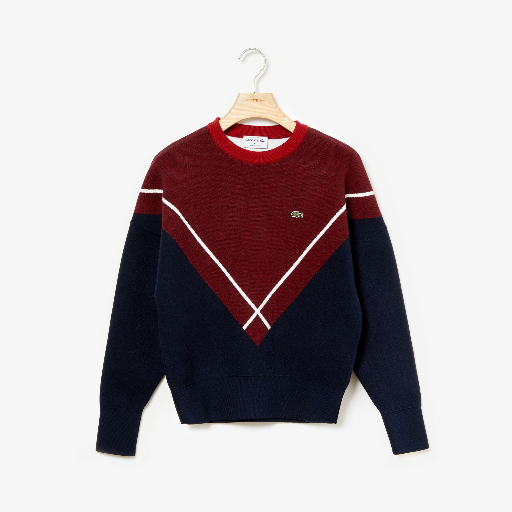 Lacoste Women's Made In France Crew Neck Jacquard Design Sweater