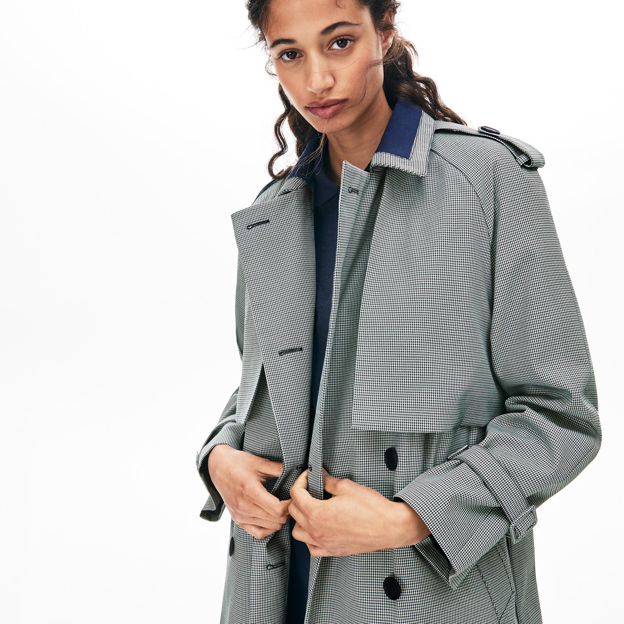 Lacoste Women's Storm Flap Long Belted Check Print Canvas Trench Coat