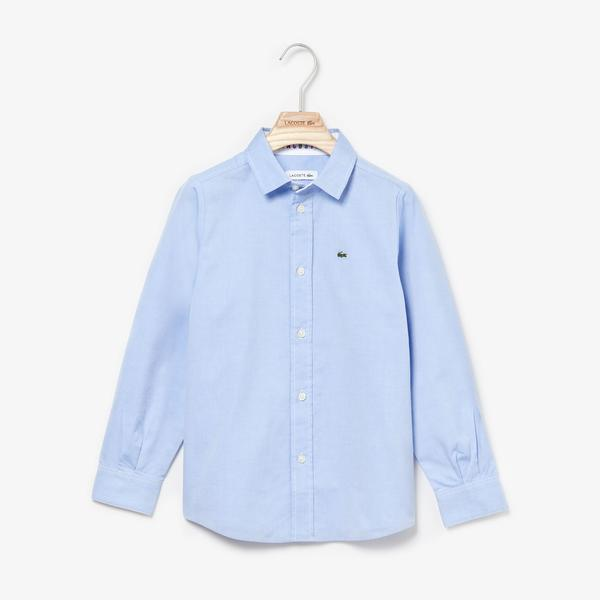 Lacoste Boys' Contrast Finishes Oxford Cotton Shirt