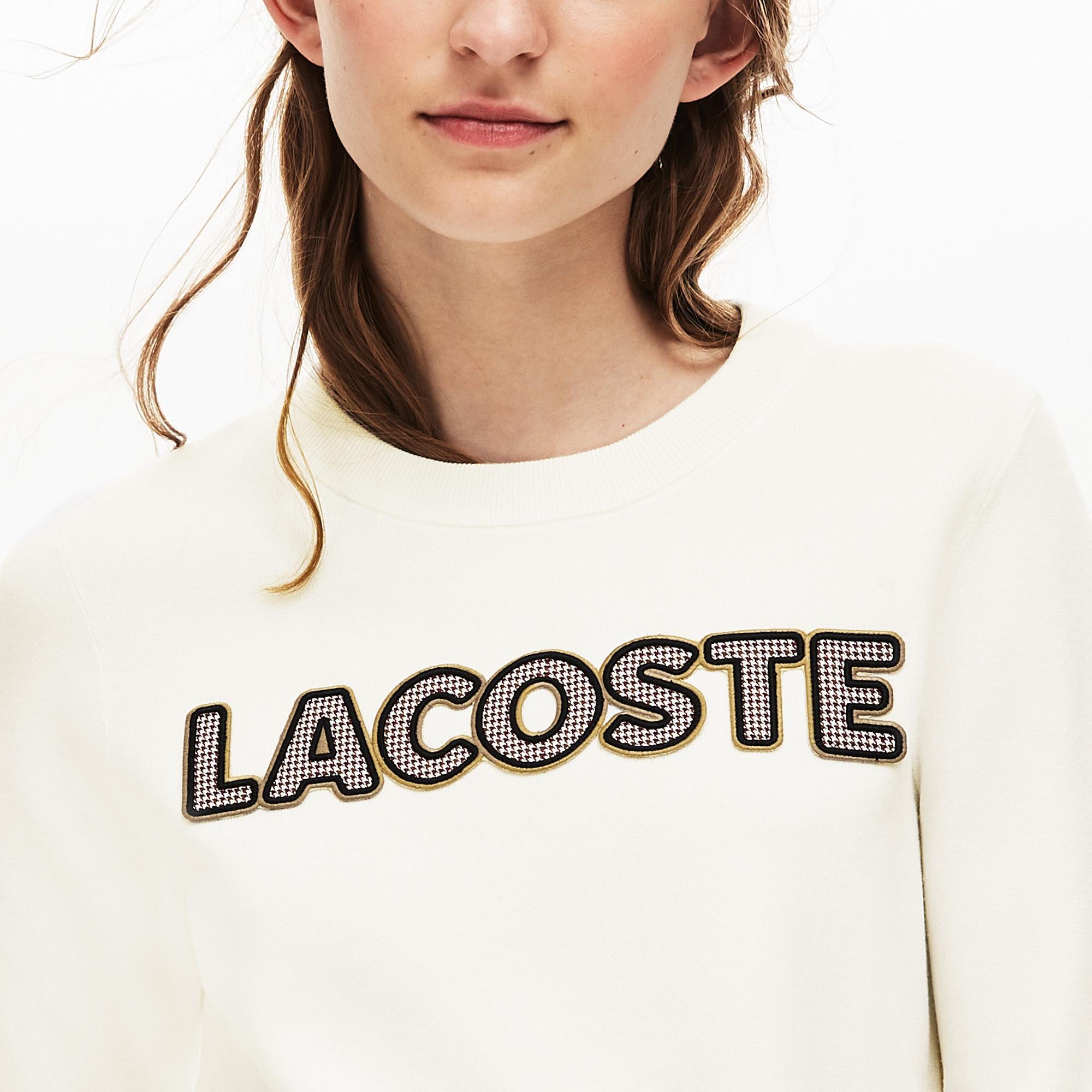Lacoste Women's Crew Neck Check Lacoste Badge Cotton Sweater