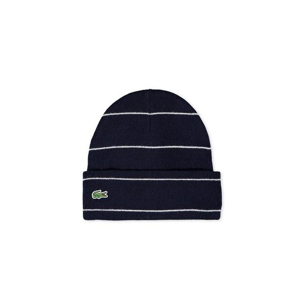Unisex Lacoste LIVE Striped Wool And Alpaga Ribbed Knit Cap