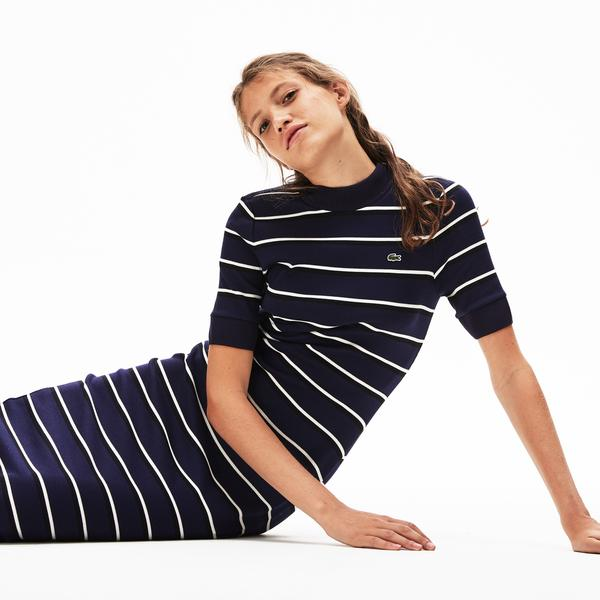 Lacoste Lıve Women's Striped Ribbed Knit Tube Dress