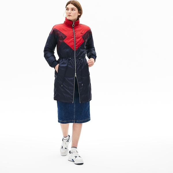 Lacoste Women's Optional Colourblock Reversible Water-Resistant Long Quilted Jacket