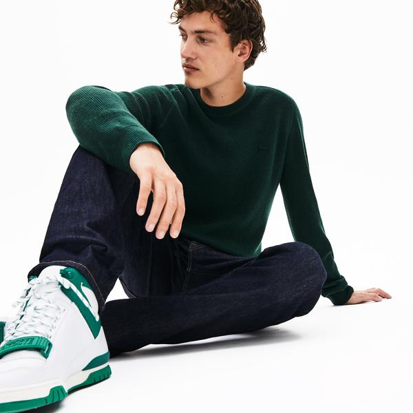Lacoste Men's Crew Neck Wool And Cashmere Blend Knit Effect Sweater