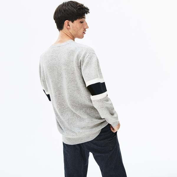 Lacoste Men's Crew Neck Contrast Bands Heathered Jacquard Sweater
