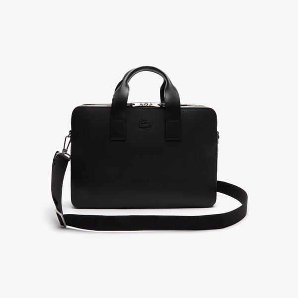 Lacoste Men's Chantaco Matte Piqué Leather Computer Bag