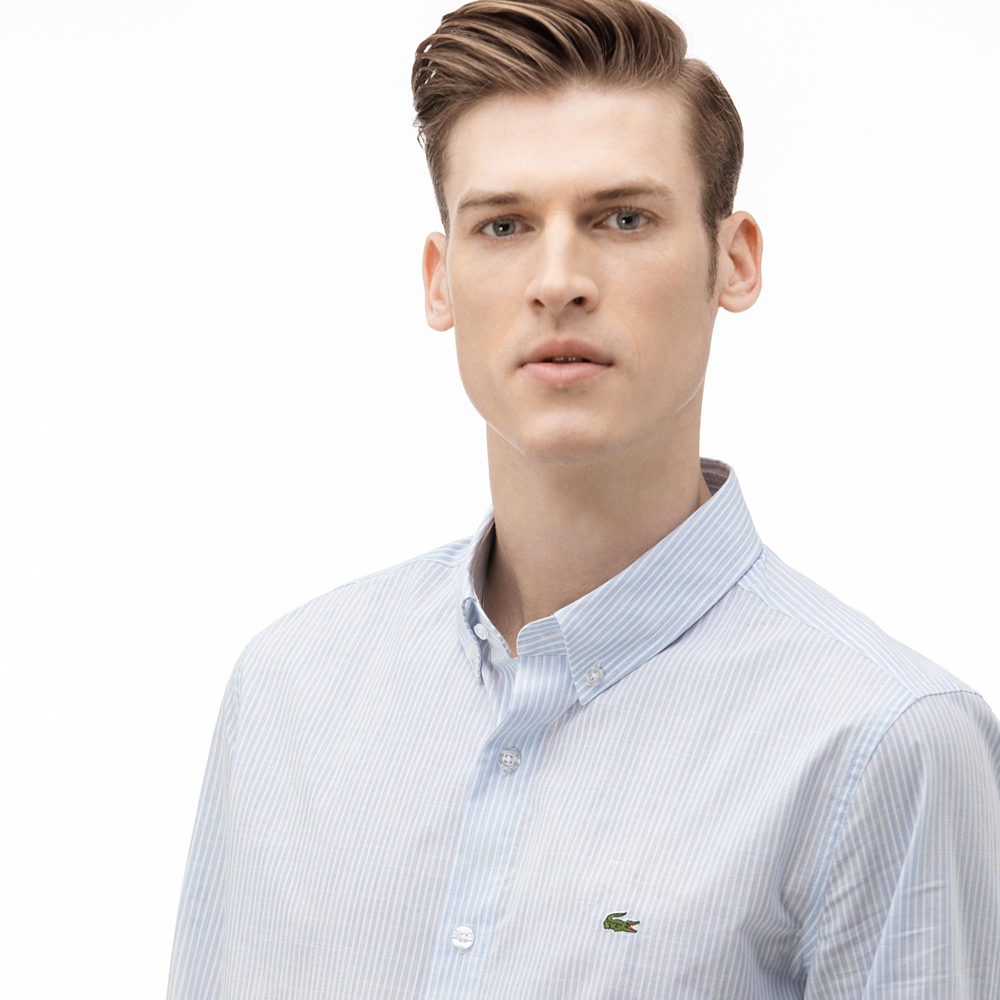Lacoste Men's Slim Fit Buttoned-Up Collar Striped Shirt