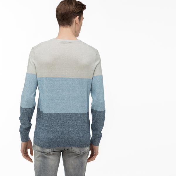 Lacoste Men's Round Neck Block Striped Tricot Sweater