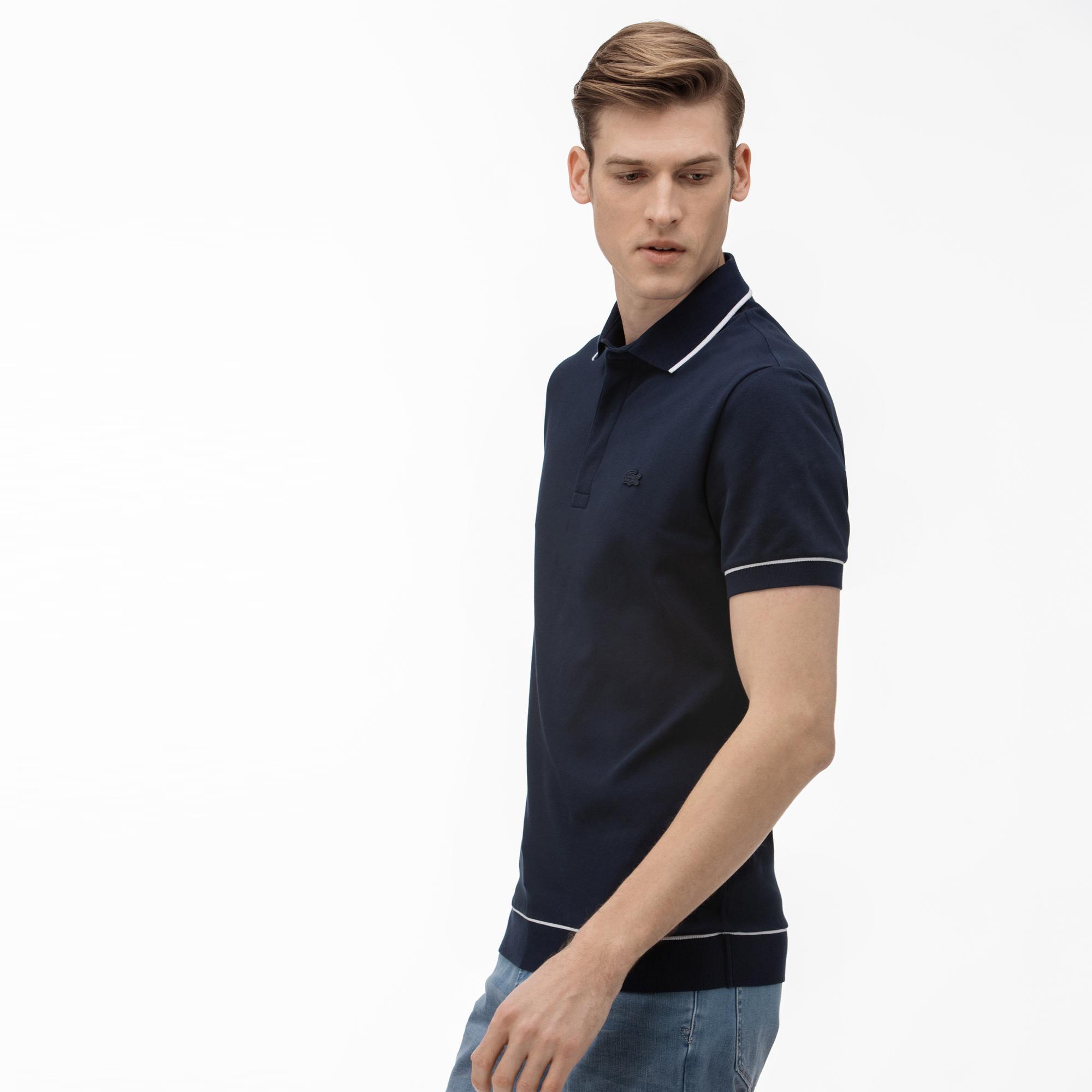 Lacoste Men's Regular Fit Piped Stretch Cotton Mini Piqué Polo