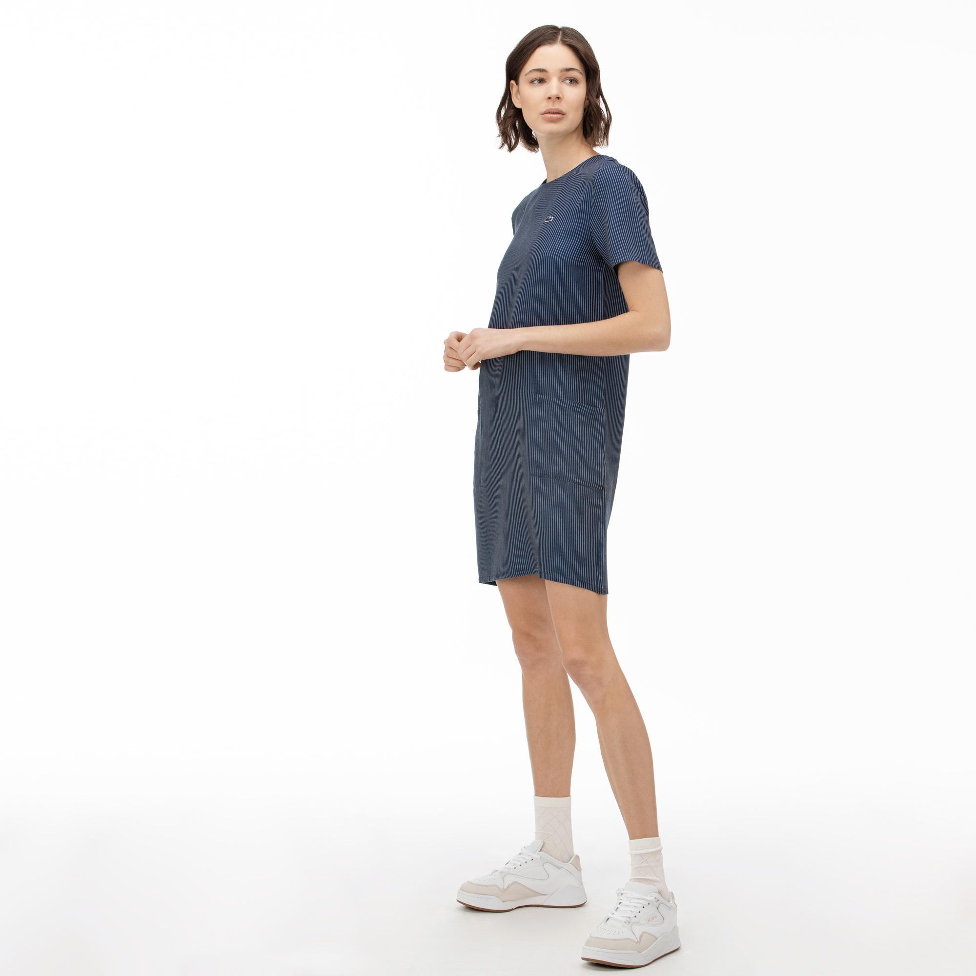 Lacoste Women's Round Neck Striped Short Sleeve Dress