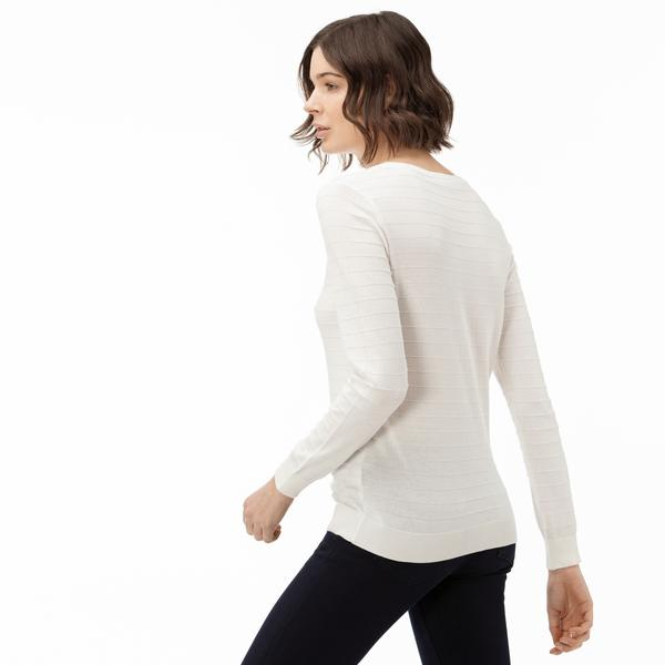 Lacoste Women's Round Neck Patterned Tricot Sweater