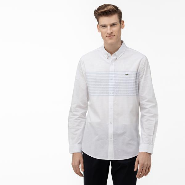 Lacoste Men's Regular Fit Block Striped Button-Down Collar Shirt