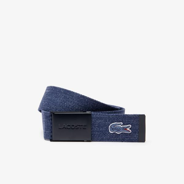 Lacoste Men's Belt With Embroidered Crocodile