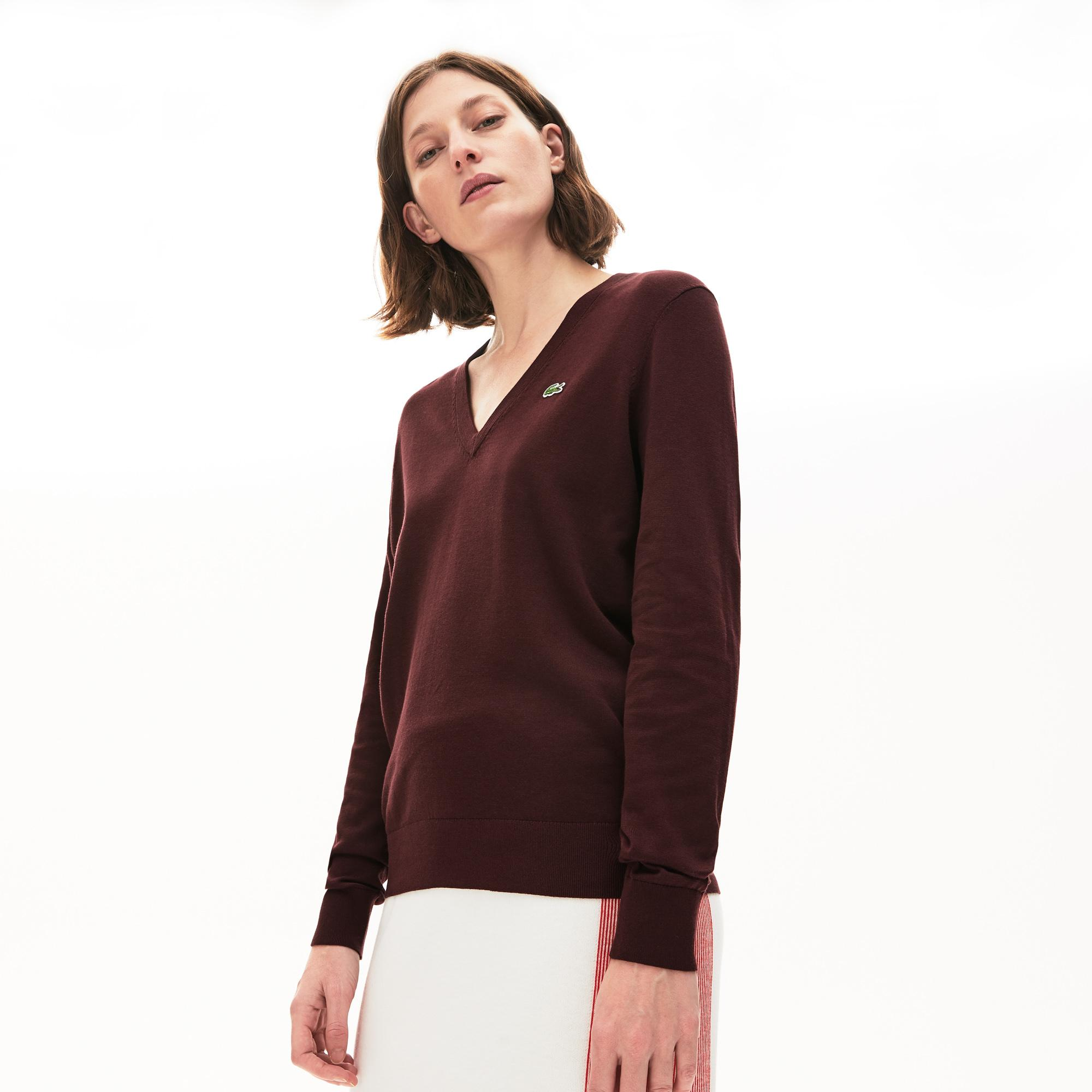 Lacoste Women's Solid Cotton V-Neck Sweater
