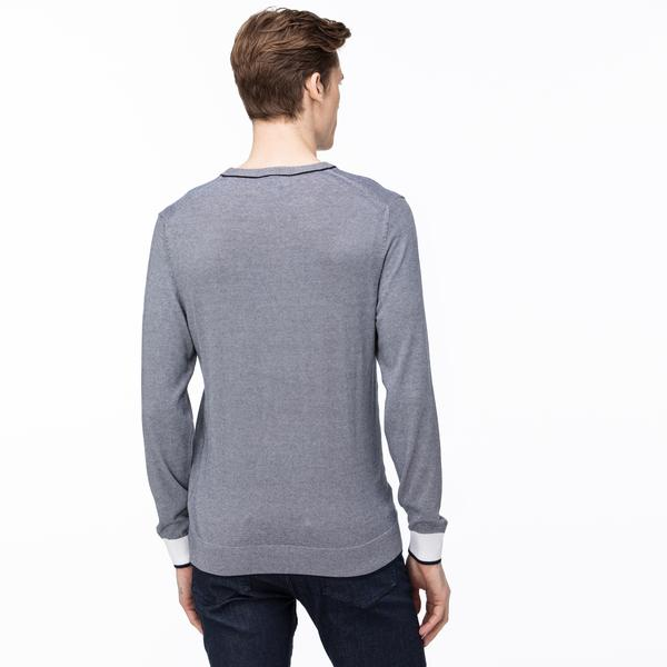 Lacoste Men's Round Neck Striped Tricot Sweater
