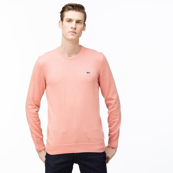Lacoste Men's Crew Neck Caviar Piqué Accent Cotton Jersey Sweater