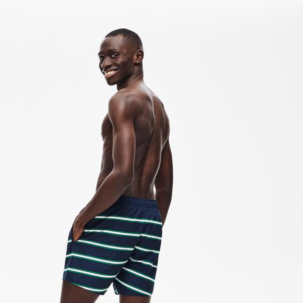 Lacoste Men's Striped Light Quick-Dry Swim Shorts