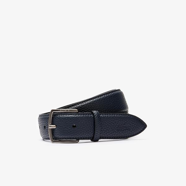 Lacoste Men's Engraved Buckle Grained Effect Belt