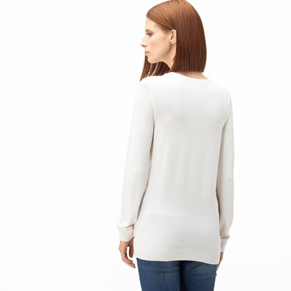 Lacoste Women's Round Neck Striped Tricot Sweater