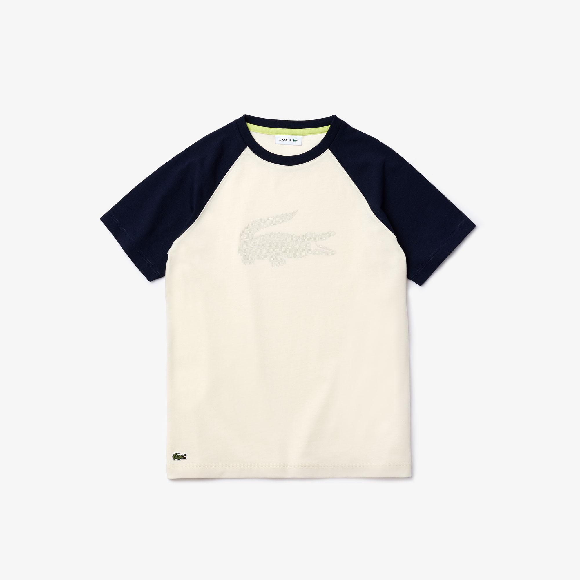 Lacoste Boy's Crocodile Print Bicolour Cotton T-Shirt