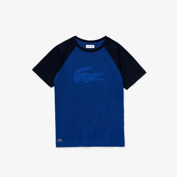 Lacoste Boy's Crocodile Print Bicolour Cotton T-Shirt