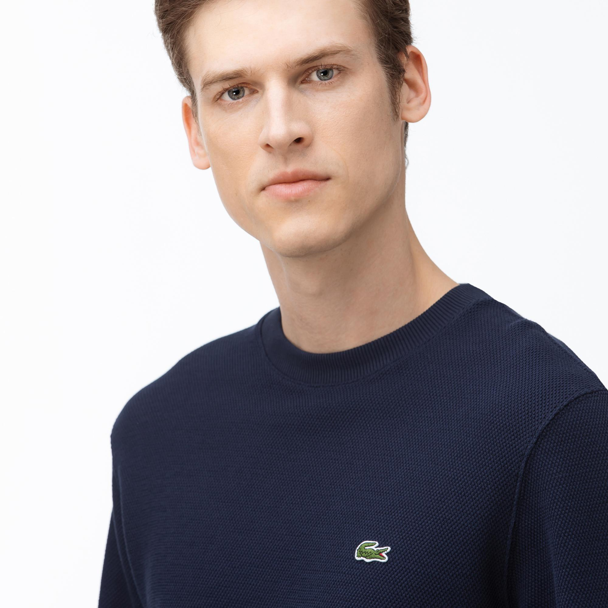 Lacoste Men's Cotton Piqué Fleece Crew Neck Sweatshirt