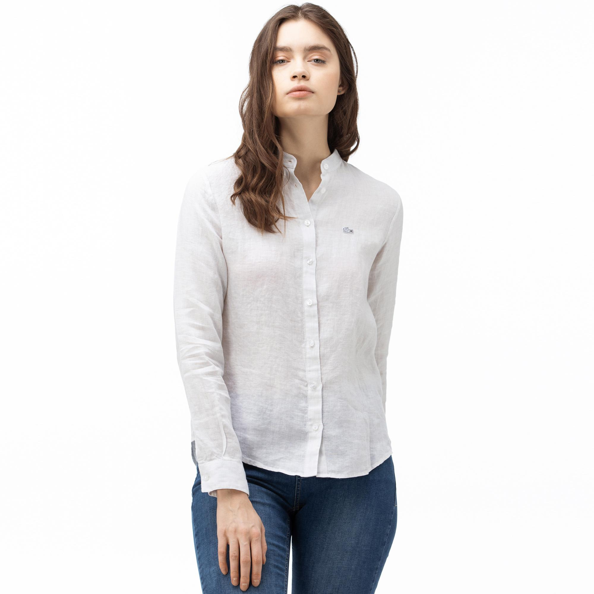 Lacoste Women's Stand-Up Collar Linen Shirt