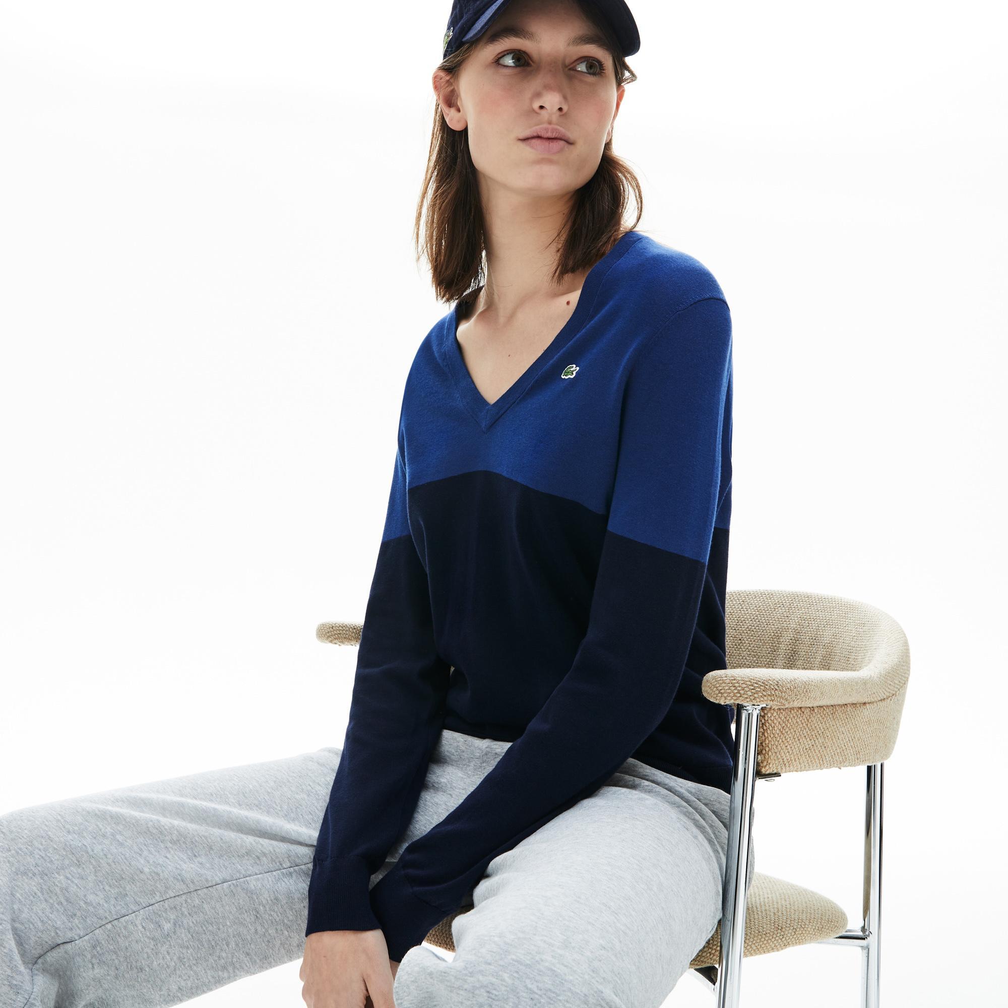 Lacoste Women's Colourblock Cotton V-Neck Sweater