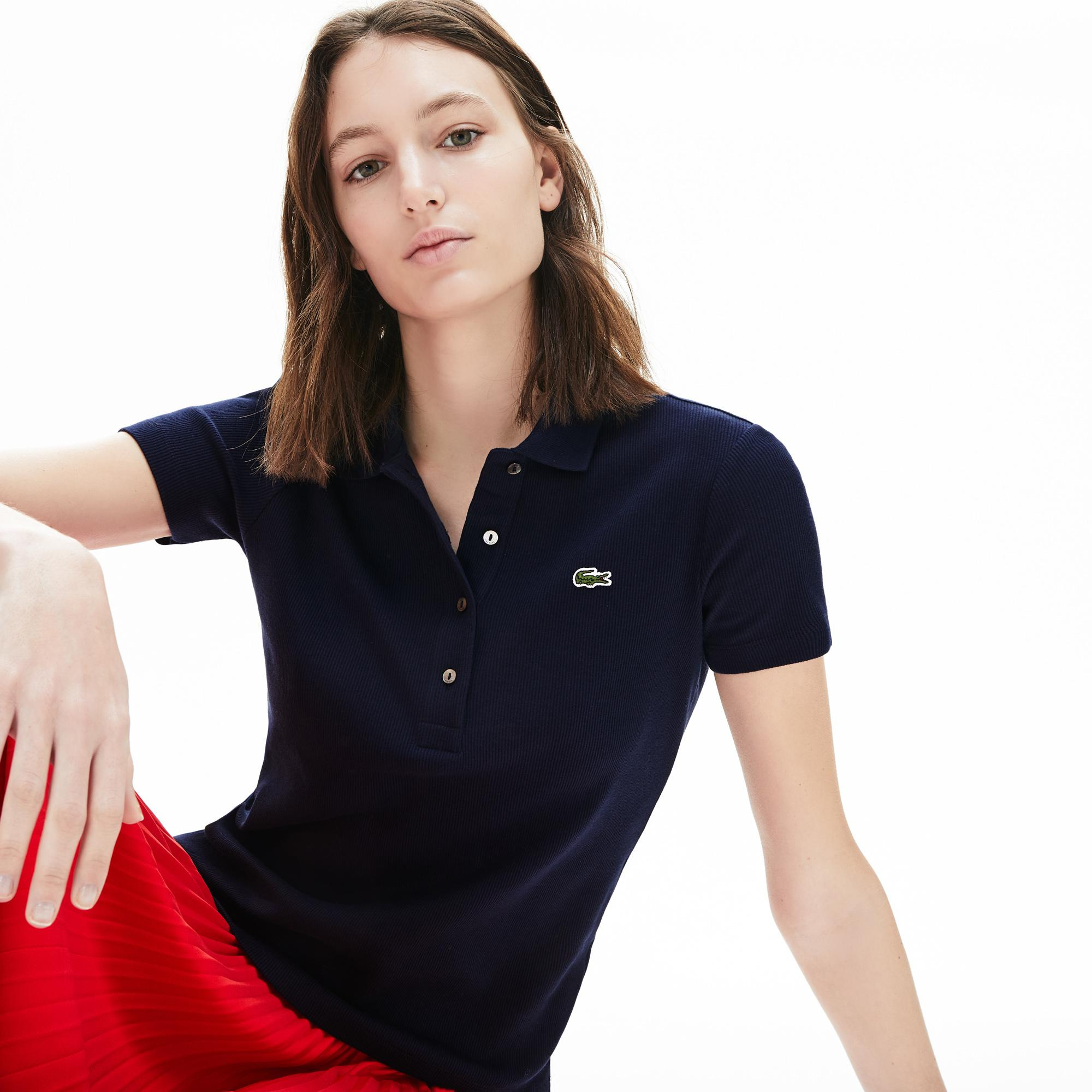Lacoste Women's Ribbed Cotton Polo