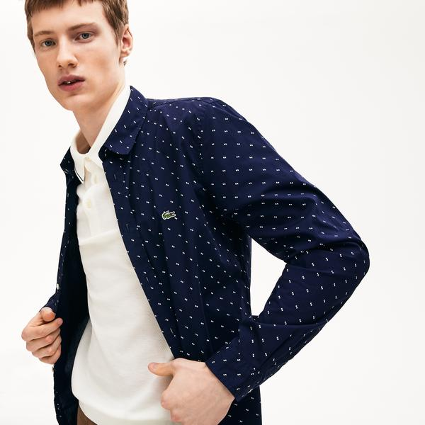 Lacoste Men's Printed Cotton Poplin Shirt