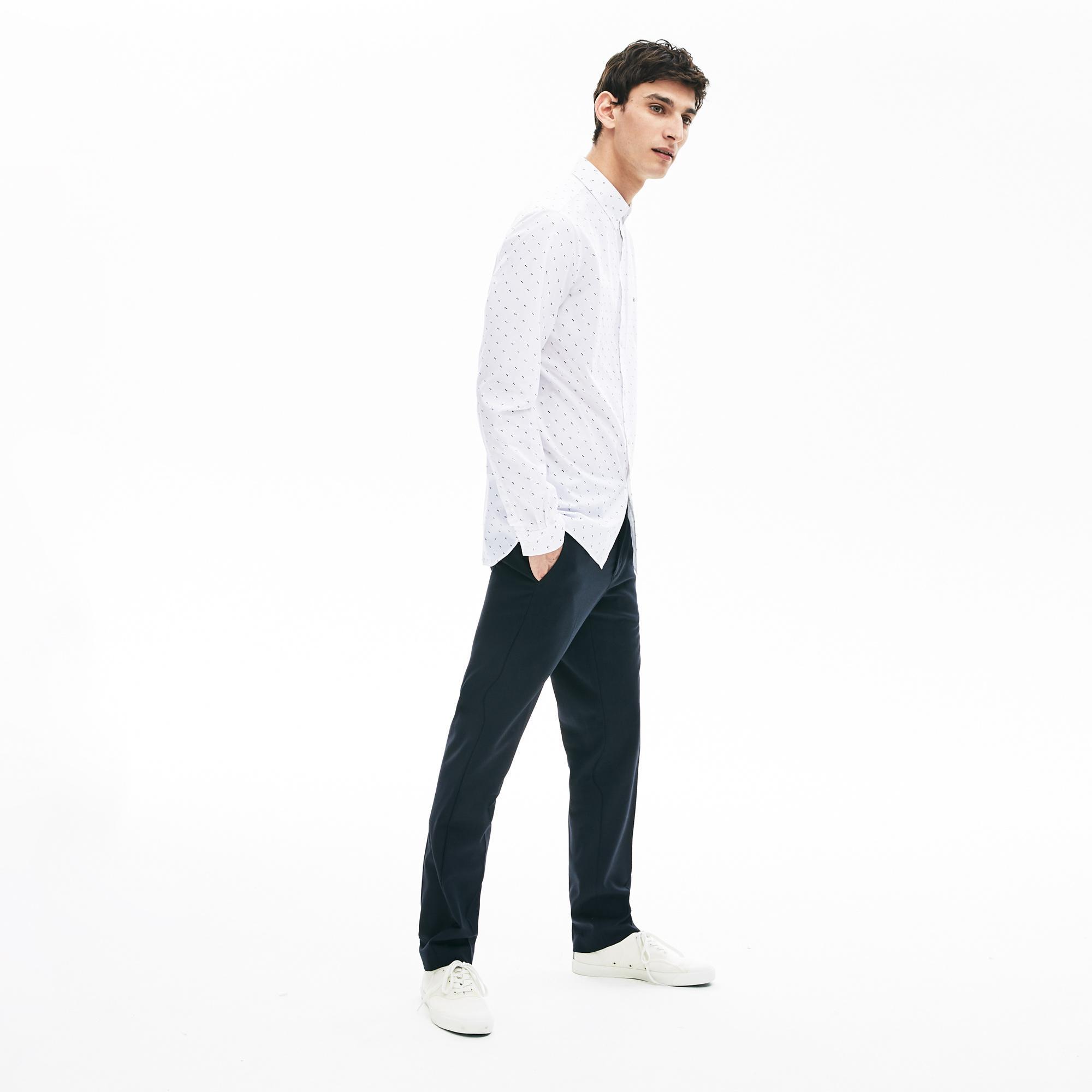 Lacoste Men's Printed Cotton Poplin Shirt