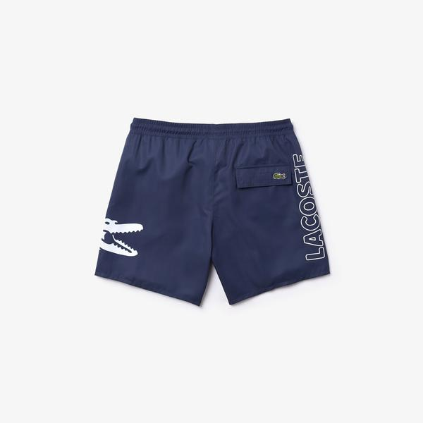 Lacoste Men's Oversized Crocodile Print Light Quick-Dry Swim Shorts
