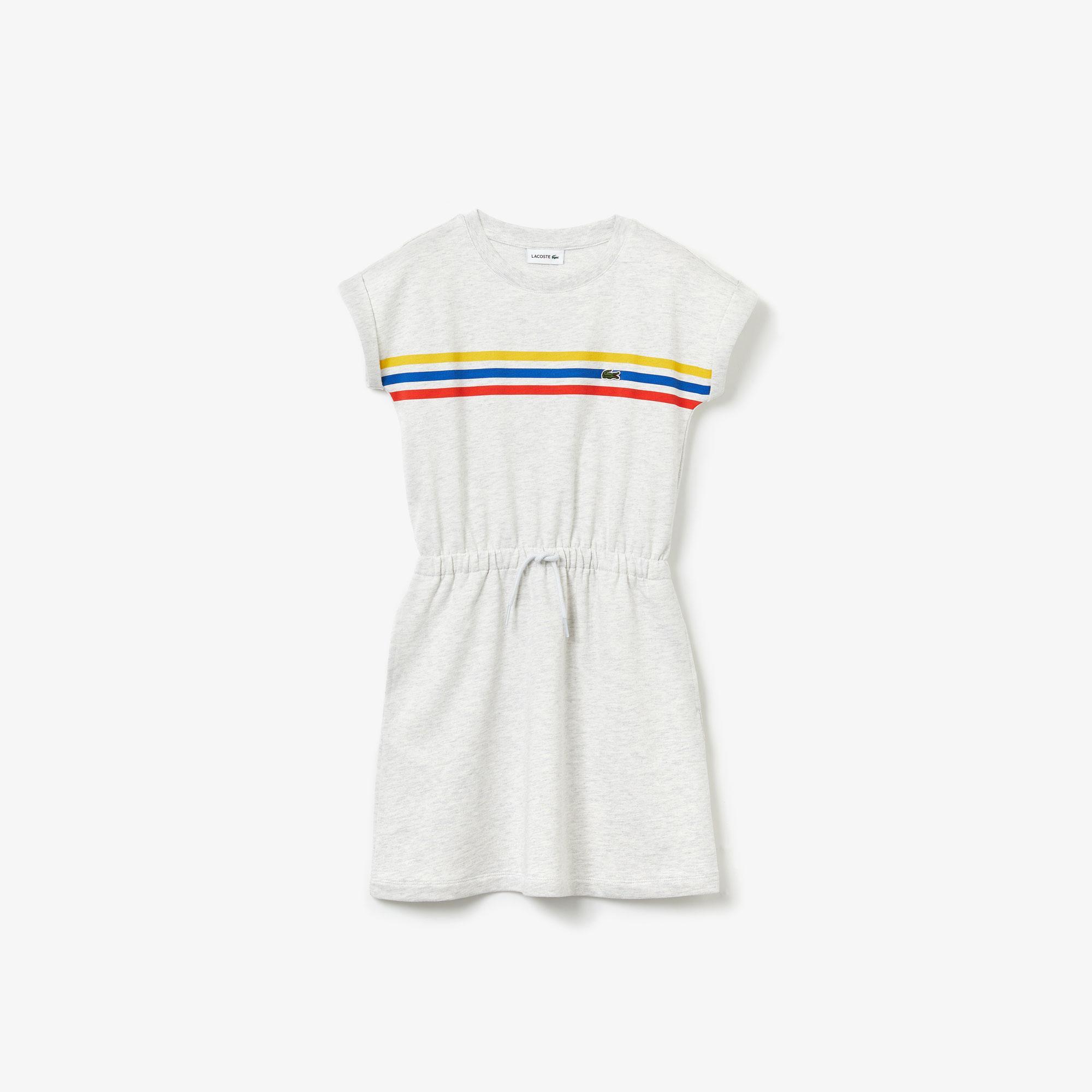 Lacoste Girls' Elasticised Waist Cotton Fleece Dress