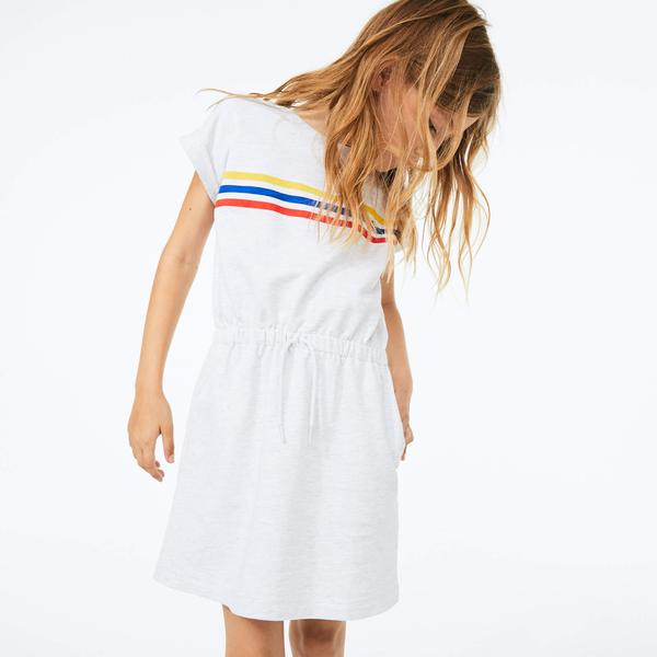Lacoste Girls' Elasticised Waist Cotton Fleece Dress