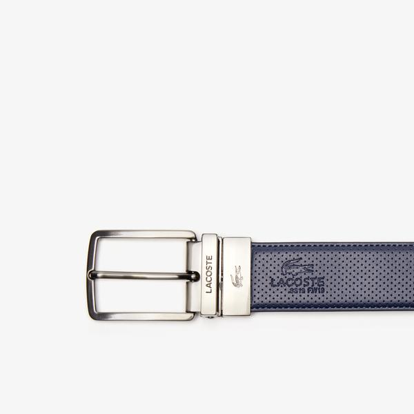 Lacoste Men's Engraved Buckle Reversible Piqué Leather Belt
